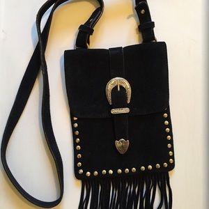 Western suede fringe purse